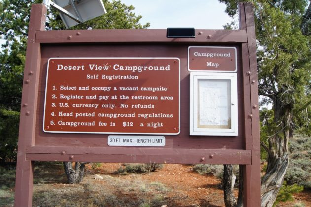 Desert View Campground Info Sign